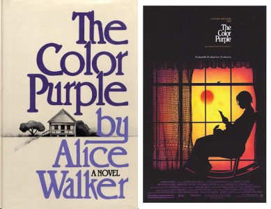 First Edition Book by Alice Walker (1982) and Movie Poster for The Color Purple (starring Whoopi Goldberg, Oprah Winfrey and directed by Steven Spielberg, 1985)